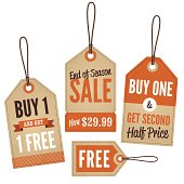 Vintage retail sale tags and labels
