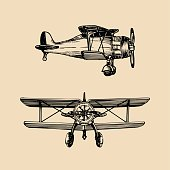 Vintage retro airplane icon. Vector hand sketched aviation illustration in engraving style for poster, card etc.
