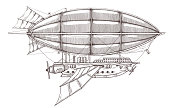 Vintage retro airship in steampunk style.