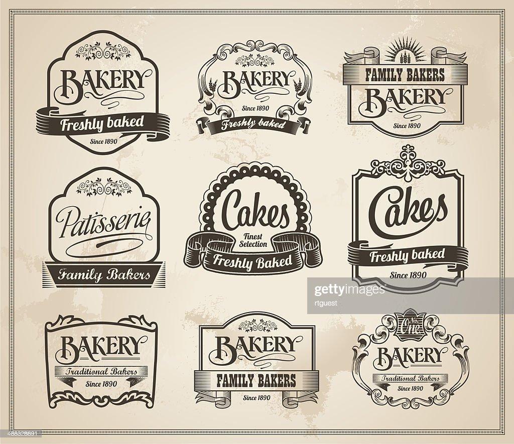 Vintage Retro Bakery Label Banner Set