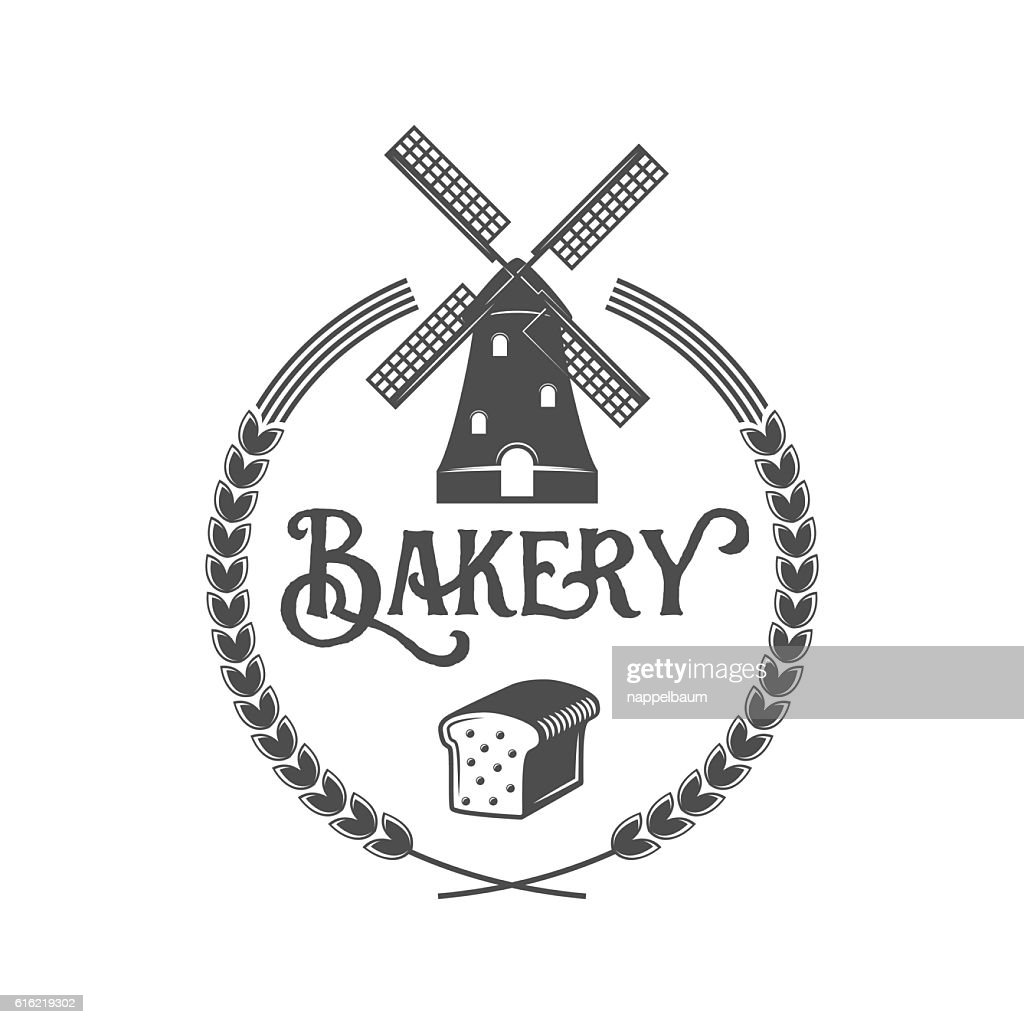 vintage retro bakery logo badge or label : Vector Art