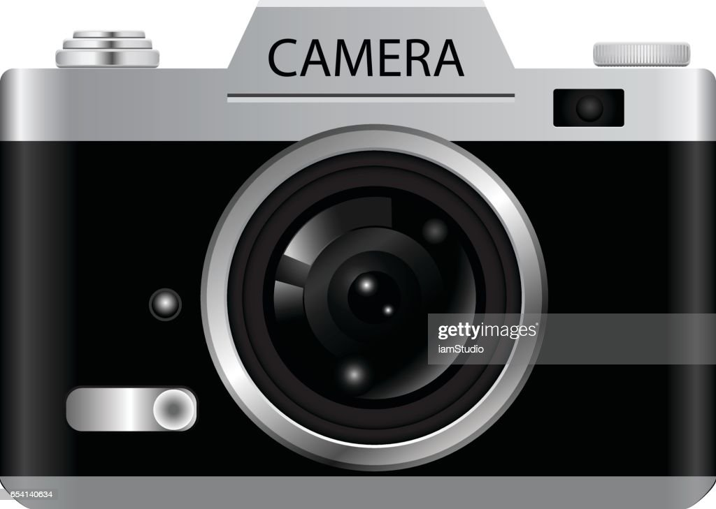 Vintage Retro Camera Icons Isolated on White Background