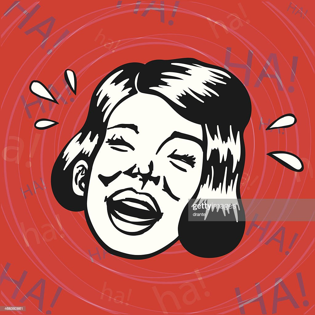 Vintage Retro Clipart: Cheerful Lady having fun and laughing