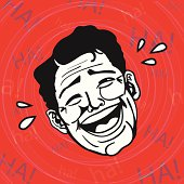 Vintage Retro Clipart: Lol, Man laughing out loud