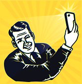 Vintage retro clipart: man takes a selfie with smartphone camera