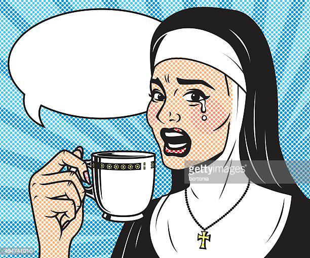 Vintage Retro Crying Nun Drinking Coffee Line Art Icon