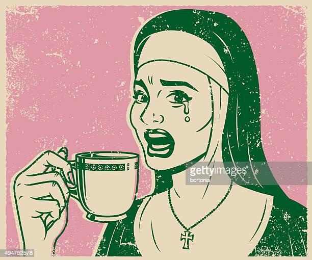 Vintage Retro Crying Nun Drinking Tea Line Art Icon