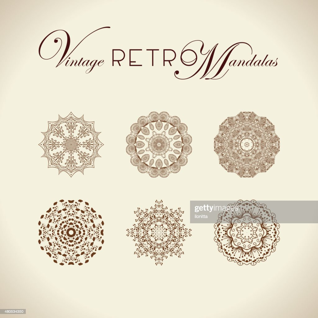 Vintage retro mandala design. : Vectorkunst