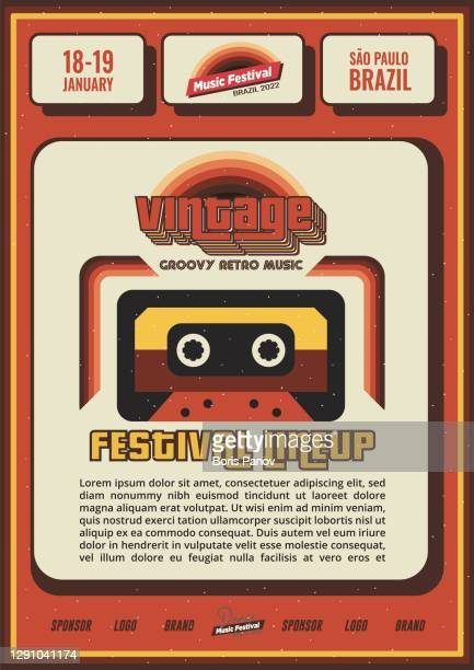 vintage retro music festival poster or flyer design with cassette and lineup for bar or night club promo banner - film festival stock illustrations