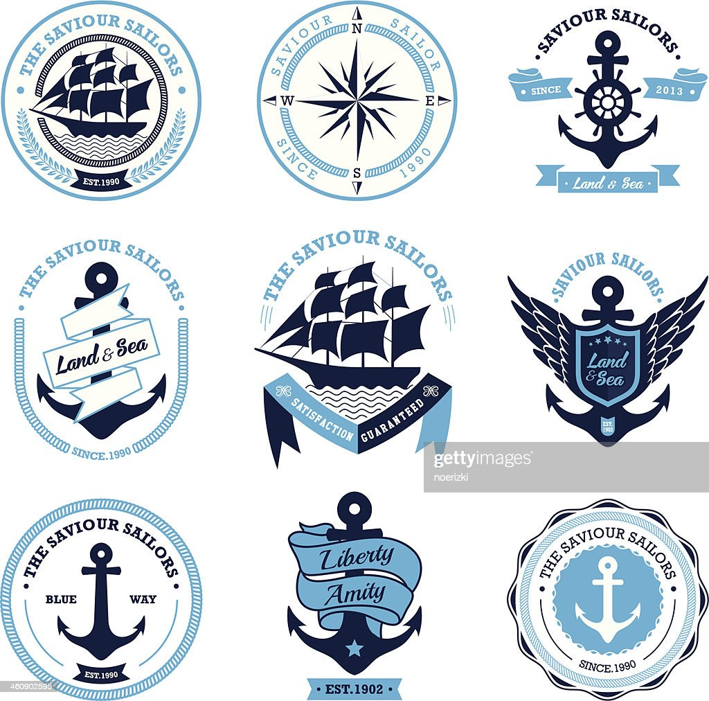 Vintage Retro Nautical Badges And Labels