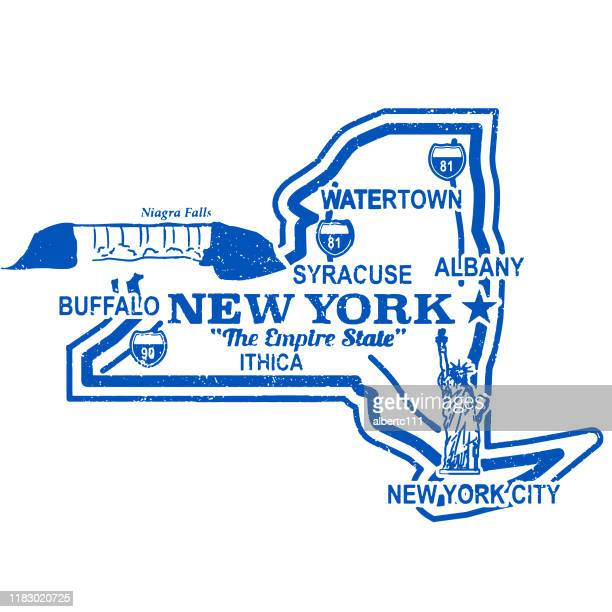 vintage retro new york travel stamp - buffalo new york state stock illustrations