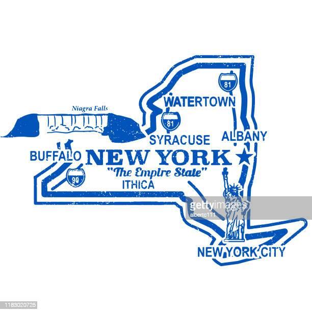 ヴィンテージ レトロ ニューヨーク トラベル スタンプ - ニューヨーク州バッファロー市点のイラスト素材/クリップアート素材/マンガ素材/アイコン素材