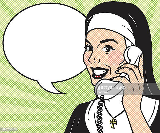 Vintage Retro Nun On The Phone Line Art Icon