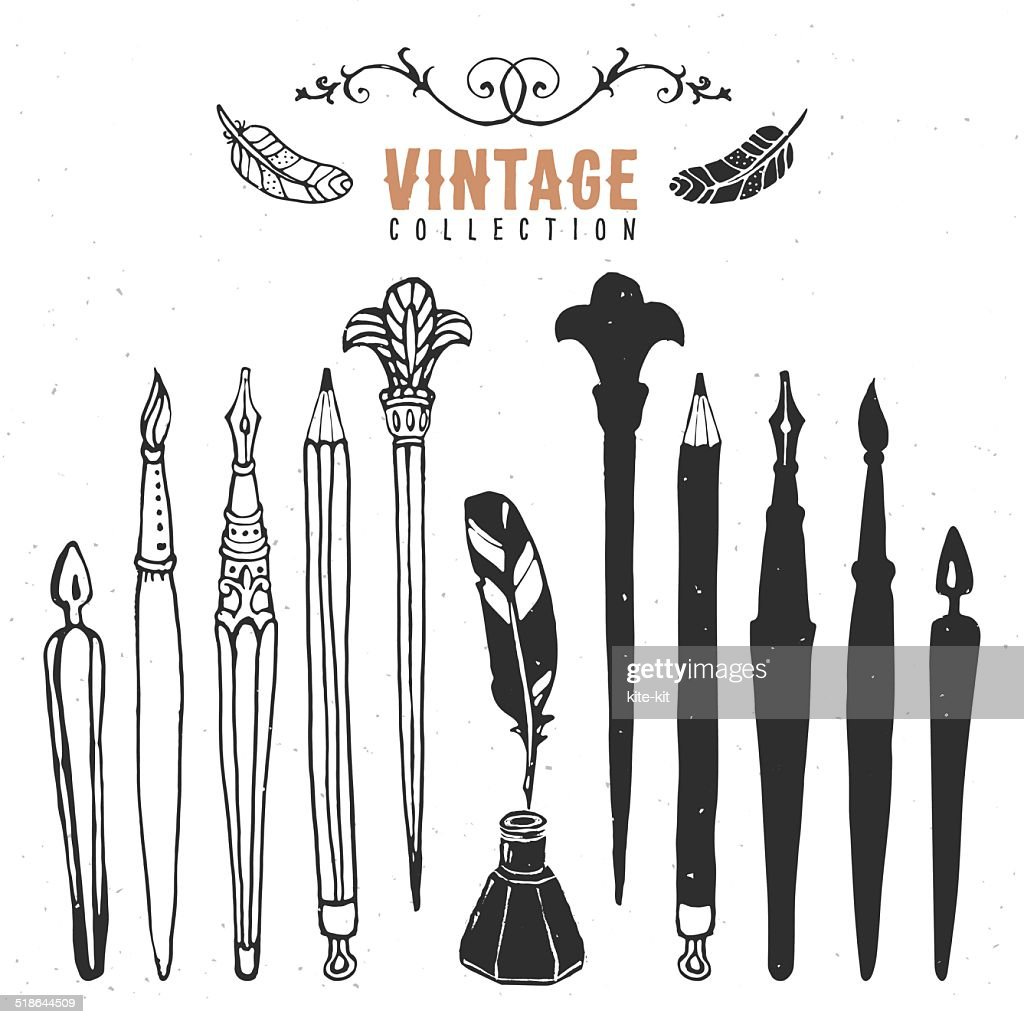 Vintage retro old nib pen brush ink collection.