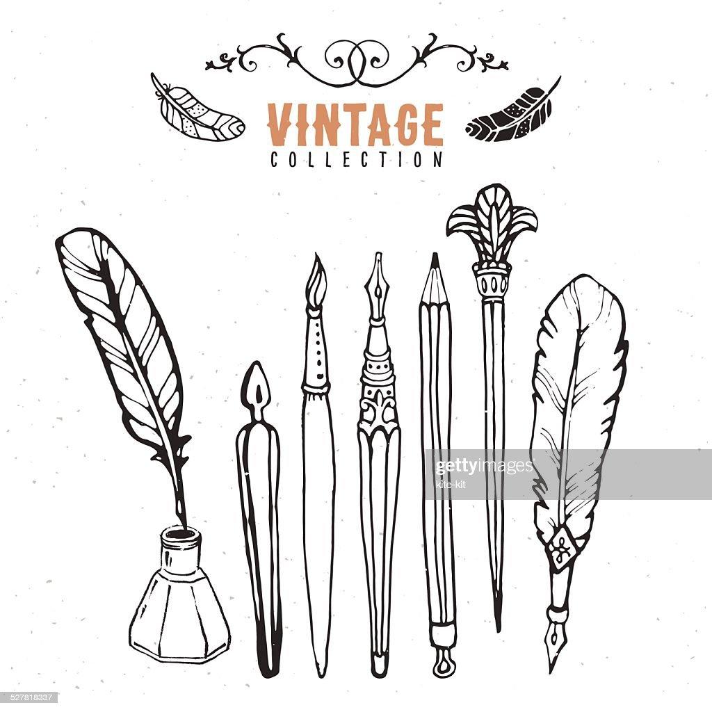 Vintage retro old nib pen brush ink collection.