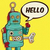 Vintage / Retro Robot vector illustration for greeting card