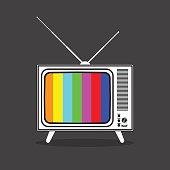 Vintage retro TV in black and white