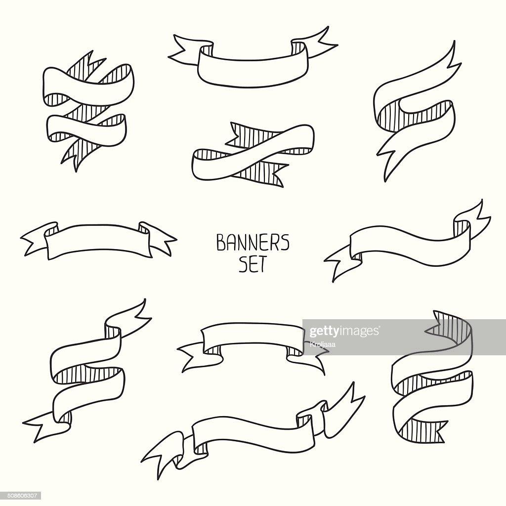 banners de fita Vintage, mão desenhado conjunto de design. Ilustração vetorial. : Arte vetorial