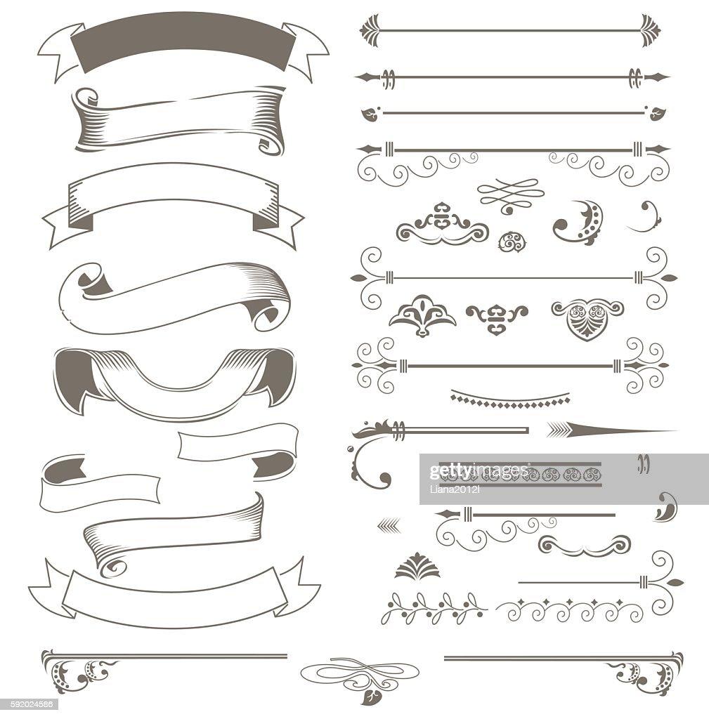 Vintage ribbons and design elements