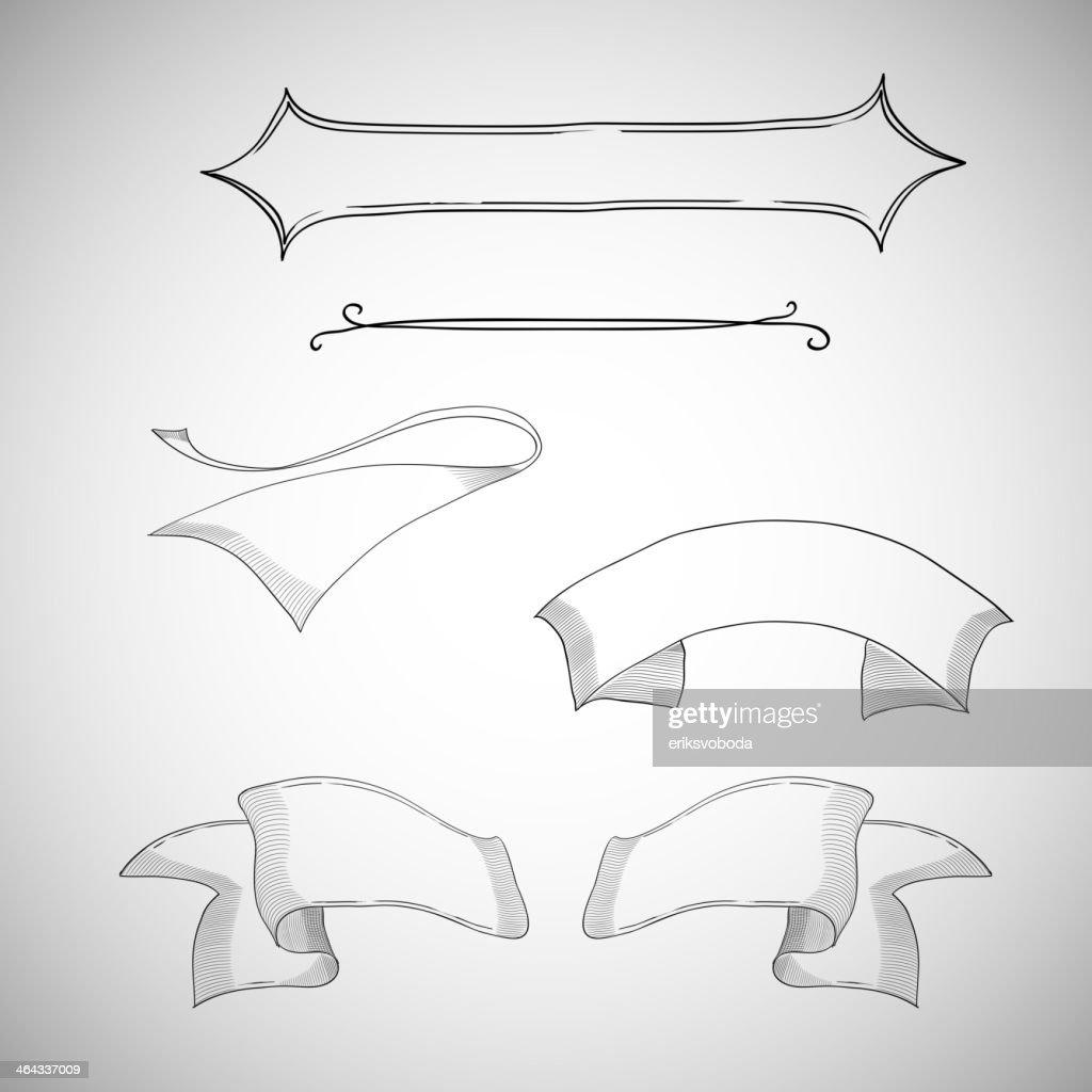 Vintage ribbons, decorative design element, hand-drawn, sketch