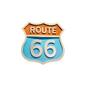 Vintage road sign Route 66 isolated on whiye background. Vector lustration