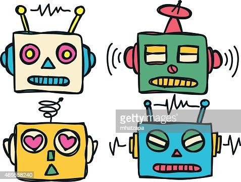 vintage robot head vector art | thinkstock