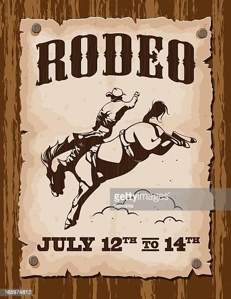ilustrações de stock, clip art, desenhos animados e ícones de vintage poster rodeio - rodeio