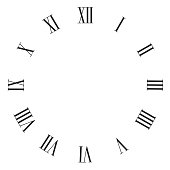 Vintage roman numerals clock face vector isolated on white.