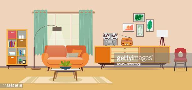 vintage room - domestic room stock illustrations, clip art, cartoons, & icons