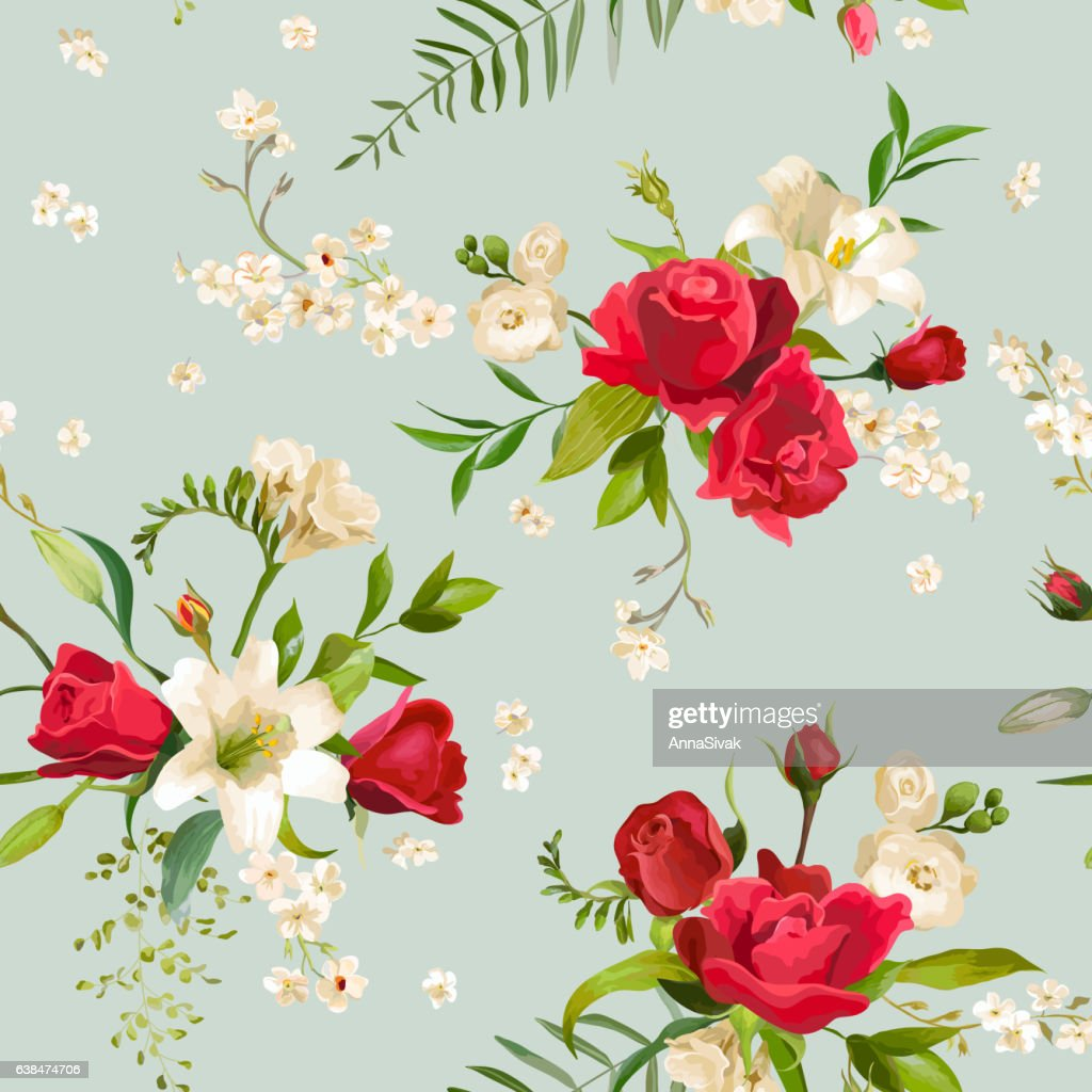 Vintage Rose and Lily Flowers Seamless Background