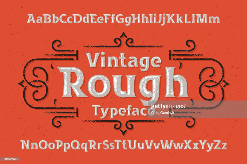 Vintage rough typeface with textured volume effect