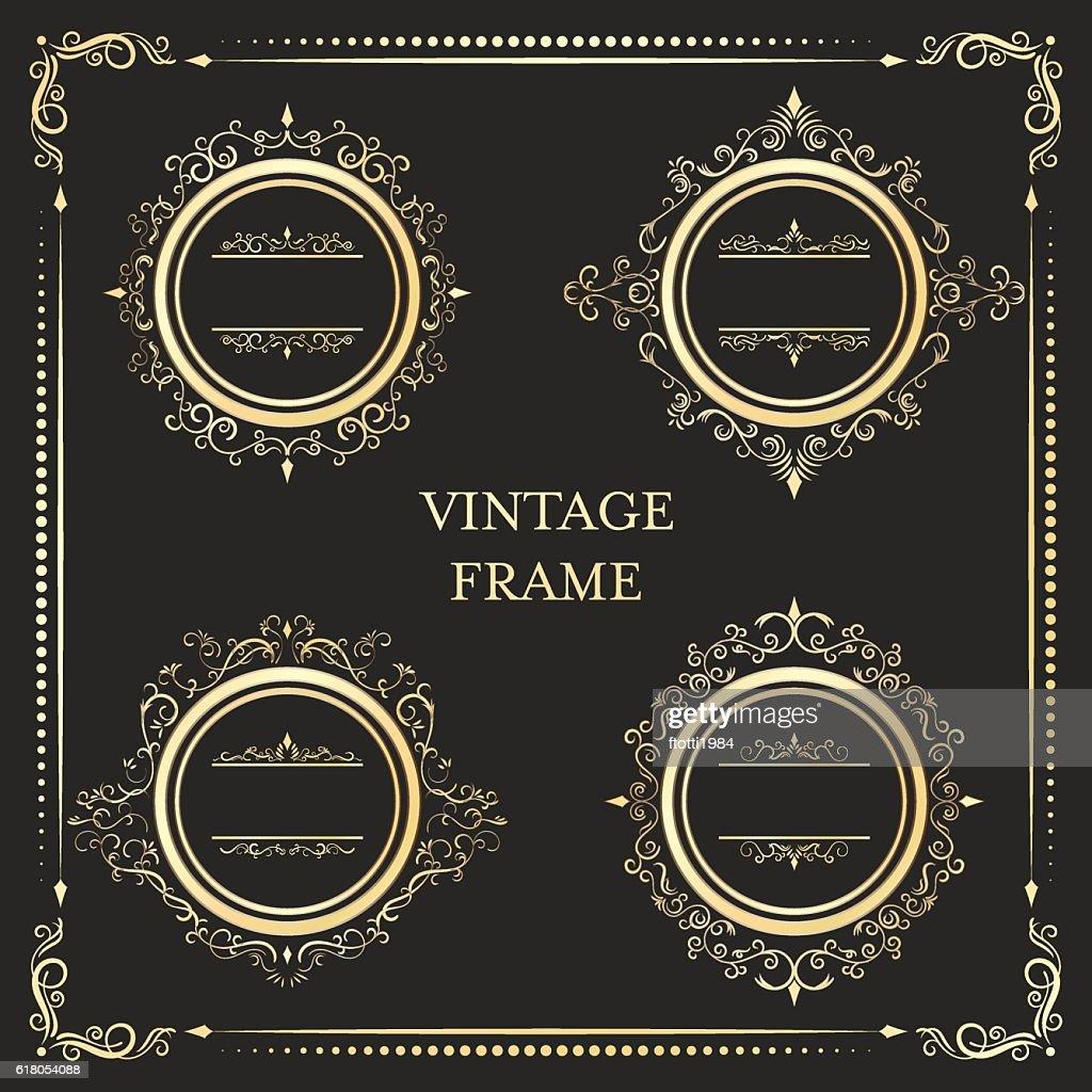 Vintage round ornament gold frame vector.