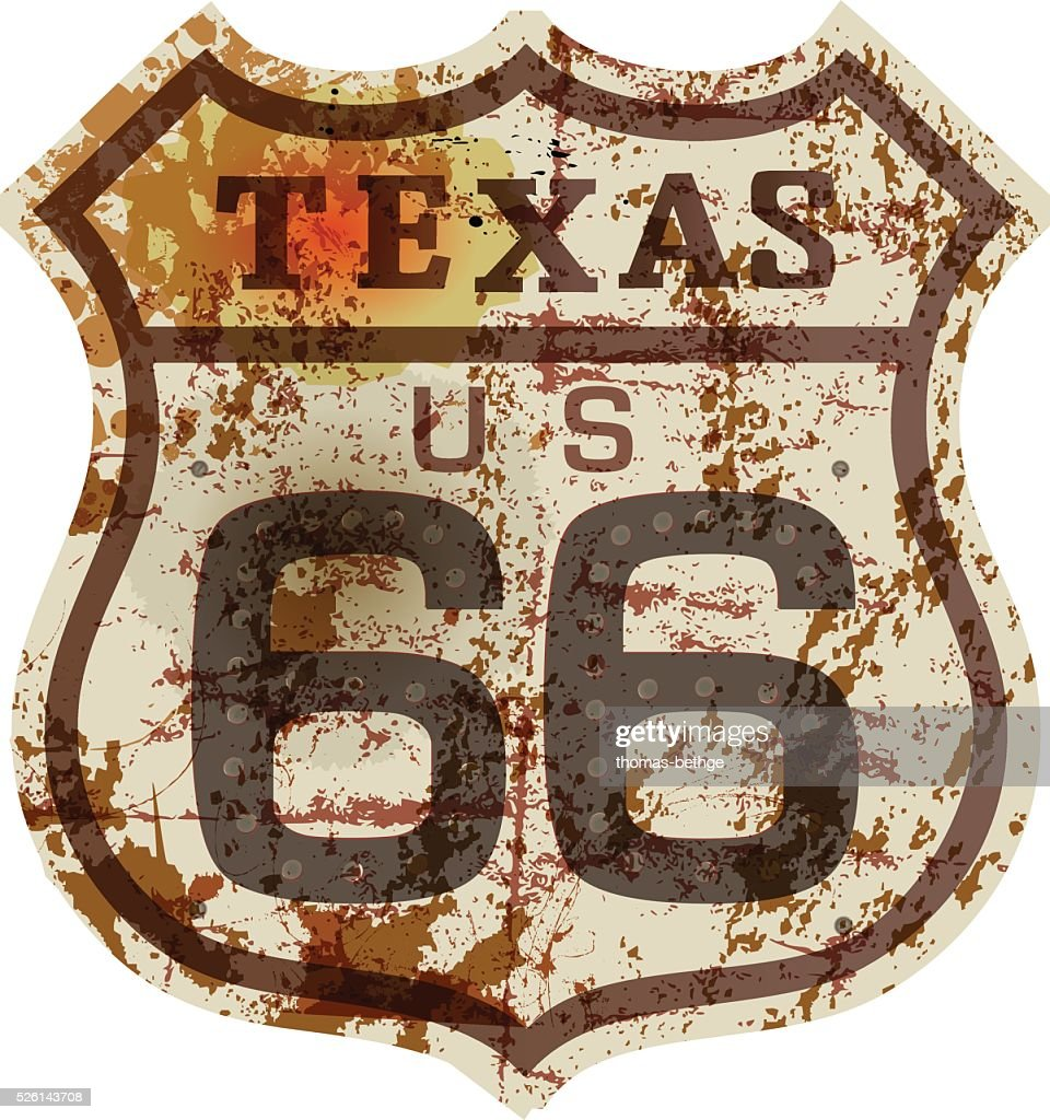 vintage route 66 road sign,