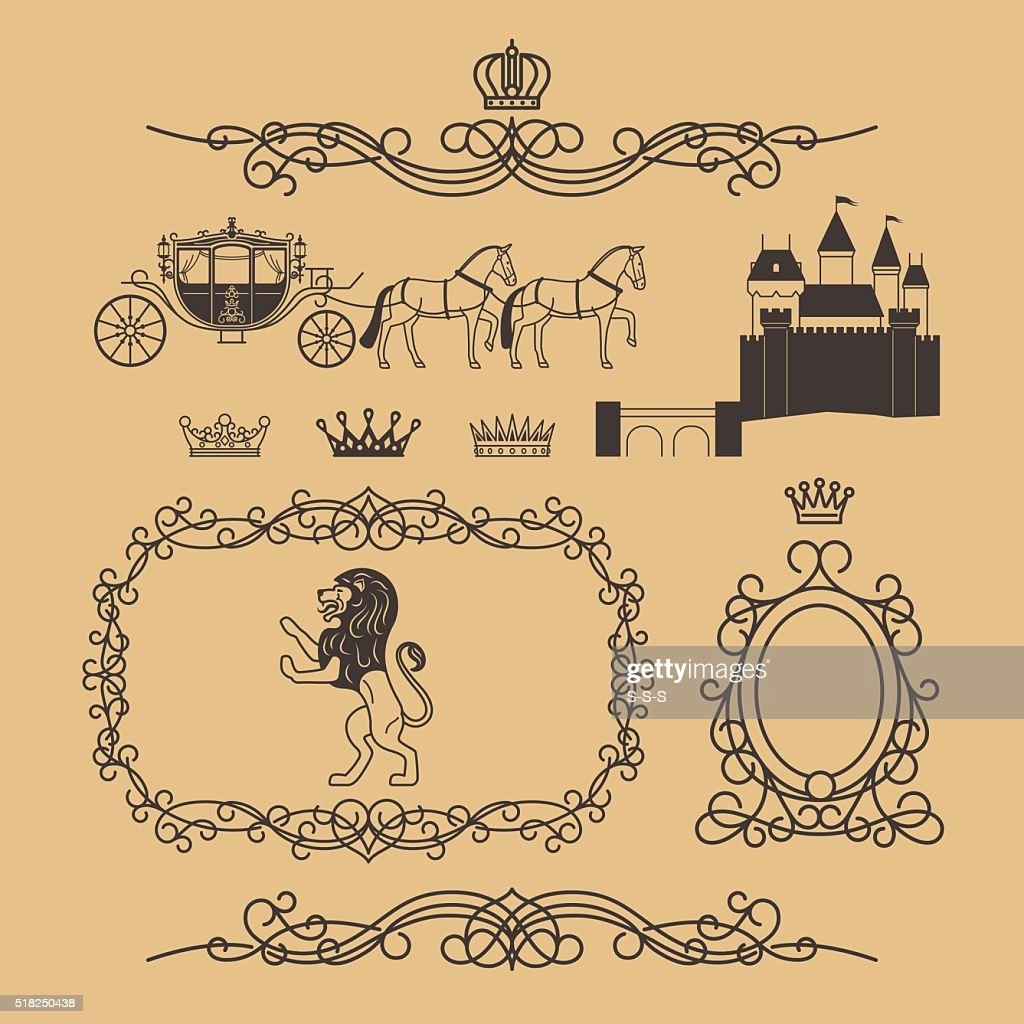Vintage royal and princess decor elements