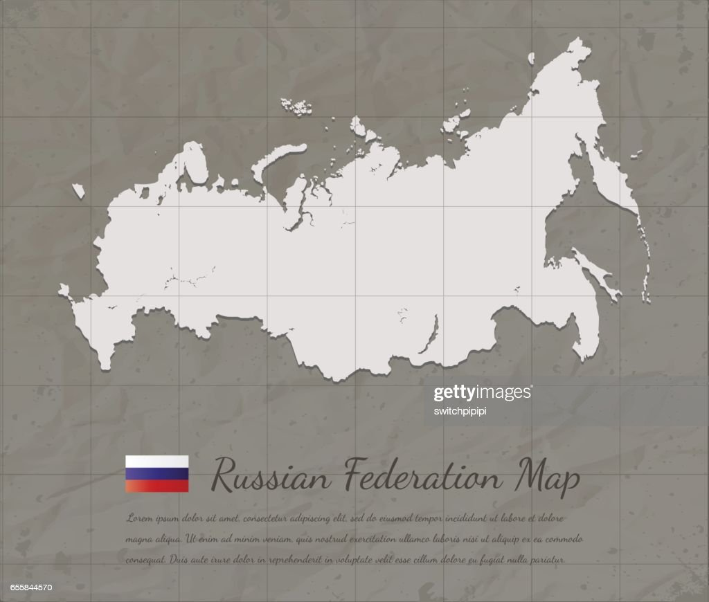 Vintage Russian Federation Map Paper Card Map Silhouette Vector ...