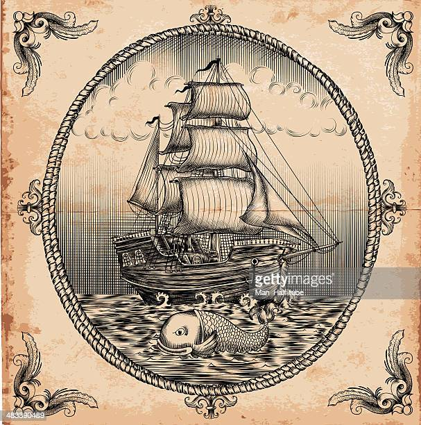 vintage sailboat - woodcut stock illustrations