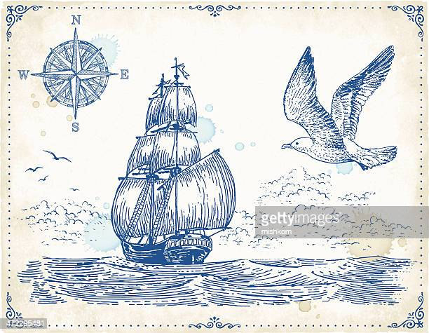 Vintage Sailing Ship Drawing