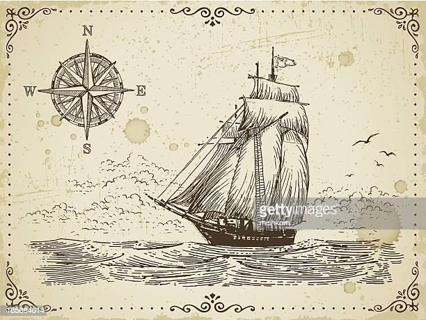 ビンテージの帆船 - 乗客輸送船点のイラスト素材/クリップアート素材/マンガ素材/アイコン素材