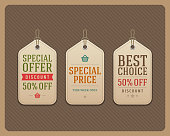 Vintage sale tags vector design elements