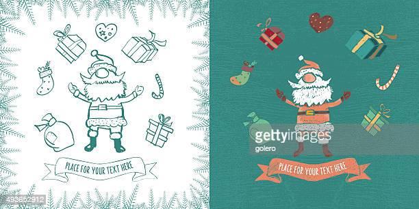 vintage santa claus greeting card with text ribbons