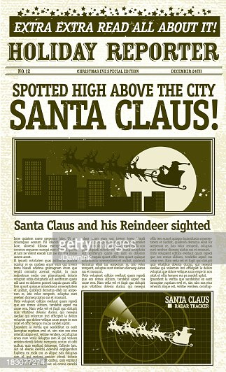 vintage santa claus sighting front page newspaper vector