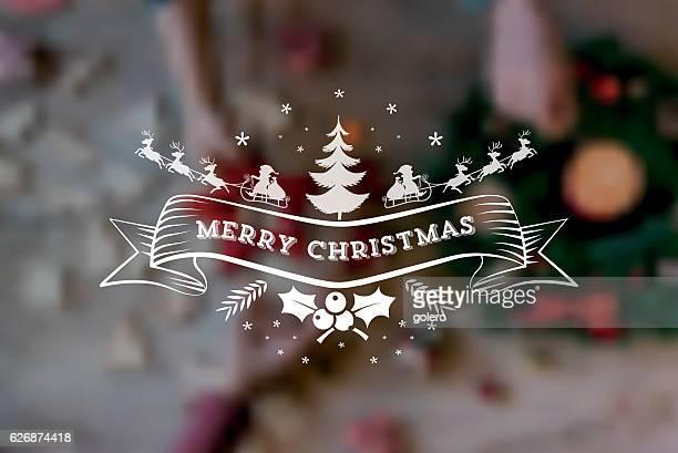 illustrations, cliparts, dessins animés et icônes de vintage santa claus sleigh symbol on blurred christmas background - avent
