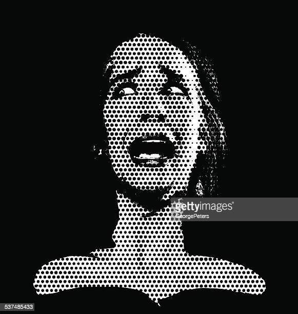 Vintage mujer asustada