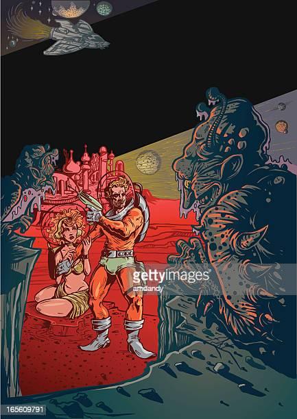 ilustraciones, imágenes clip art, dibujos animados e iconos de stock de paisaje de ciencia ficción vintage con aliens y hombre en el espacio - monstruo