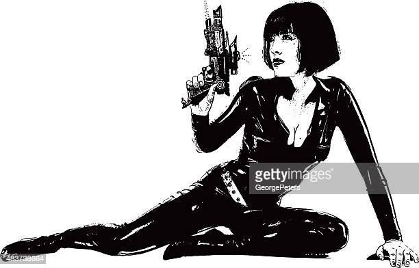 Vintage SciFi espaço mulher com Pistola Semi-recta