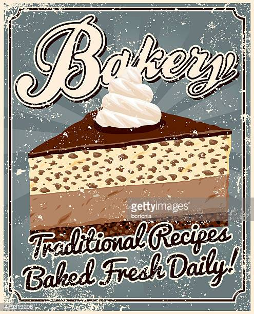 vintage screen printed bakery poster - whipped food stock illustrations, clip art, cartoons, & icons