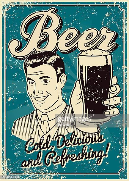 vintage screen printed beer poster - beer glass stock illustrations, clip art, cartoons, & icons