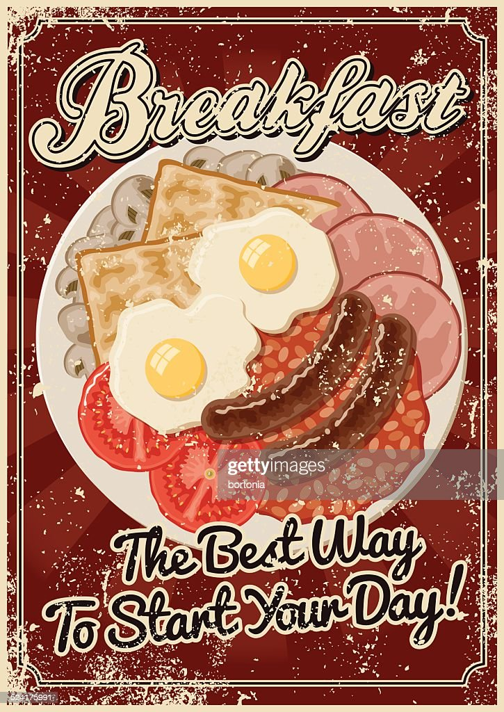 Vintage Screen Printed Breakfast Poster : stock illustration