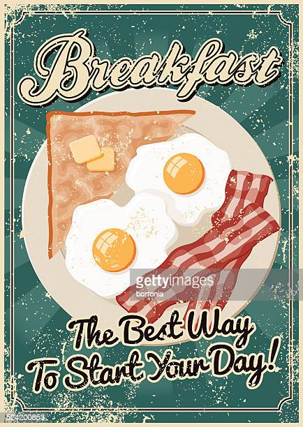Vintage Screen Printed Breakfast Poster