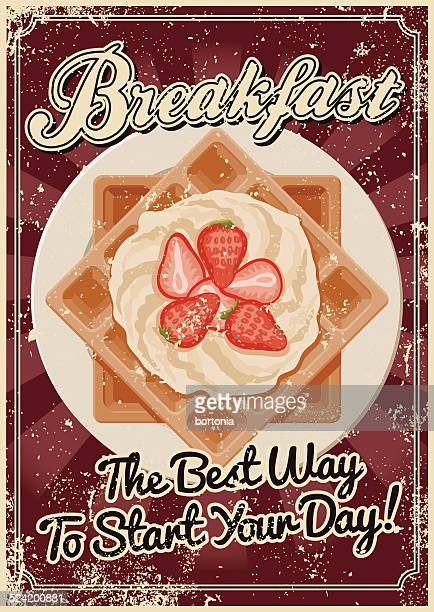vintage screen printed breakfast poster - waffle stock illustrations, clip art, cartoons, & icons
